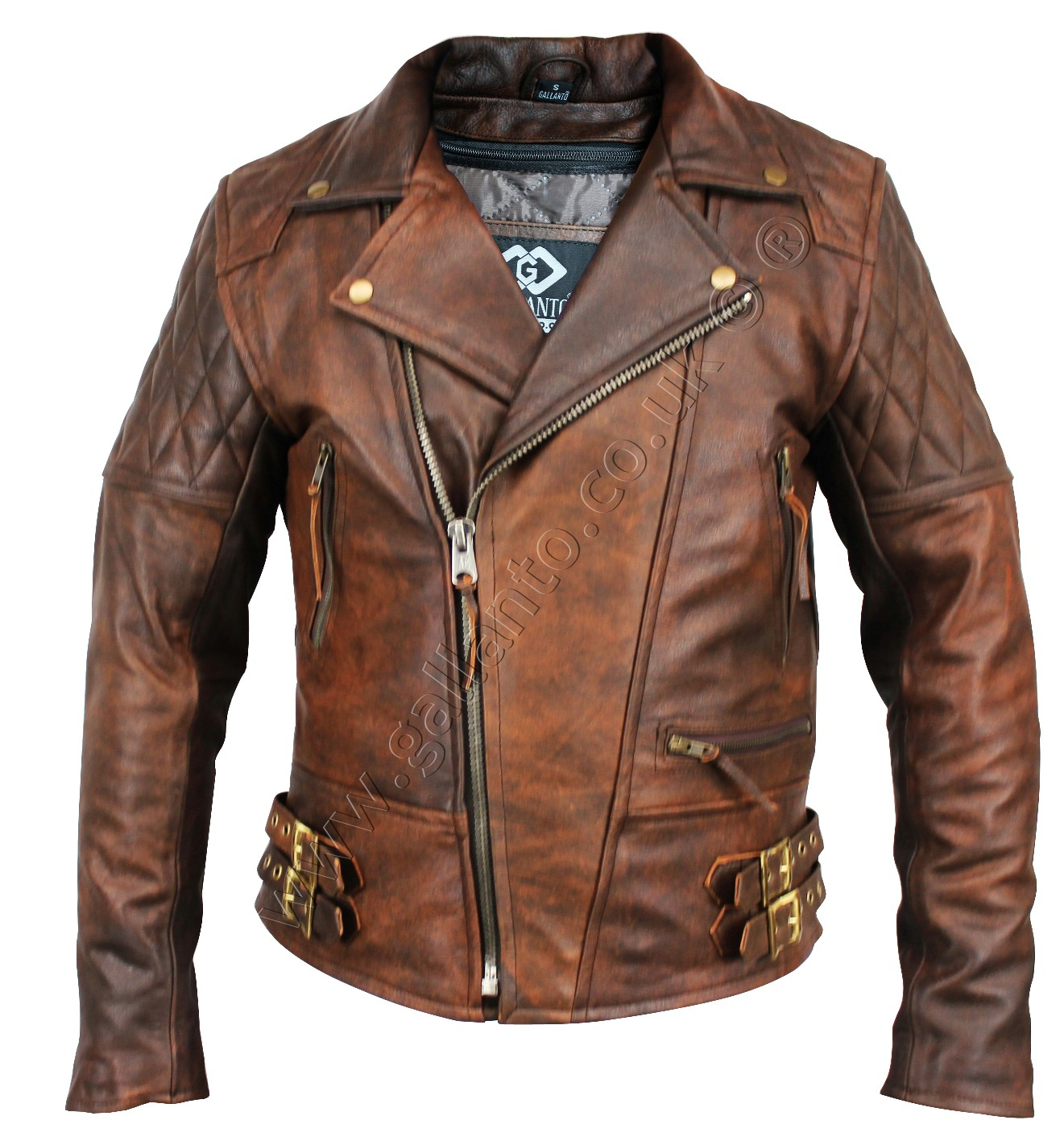 9d78ffb8f692 106 Classic Diamond Brown Motorcycle Leather Jacket - Wholesaler of ...