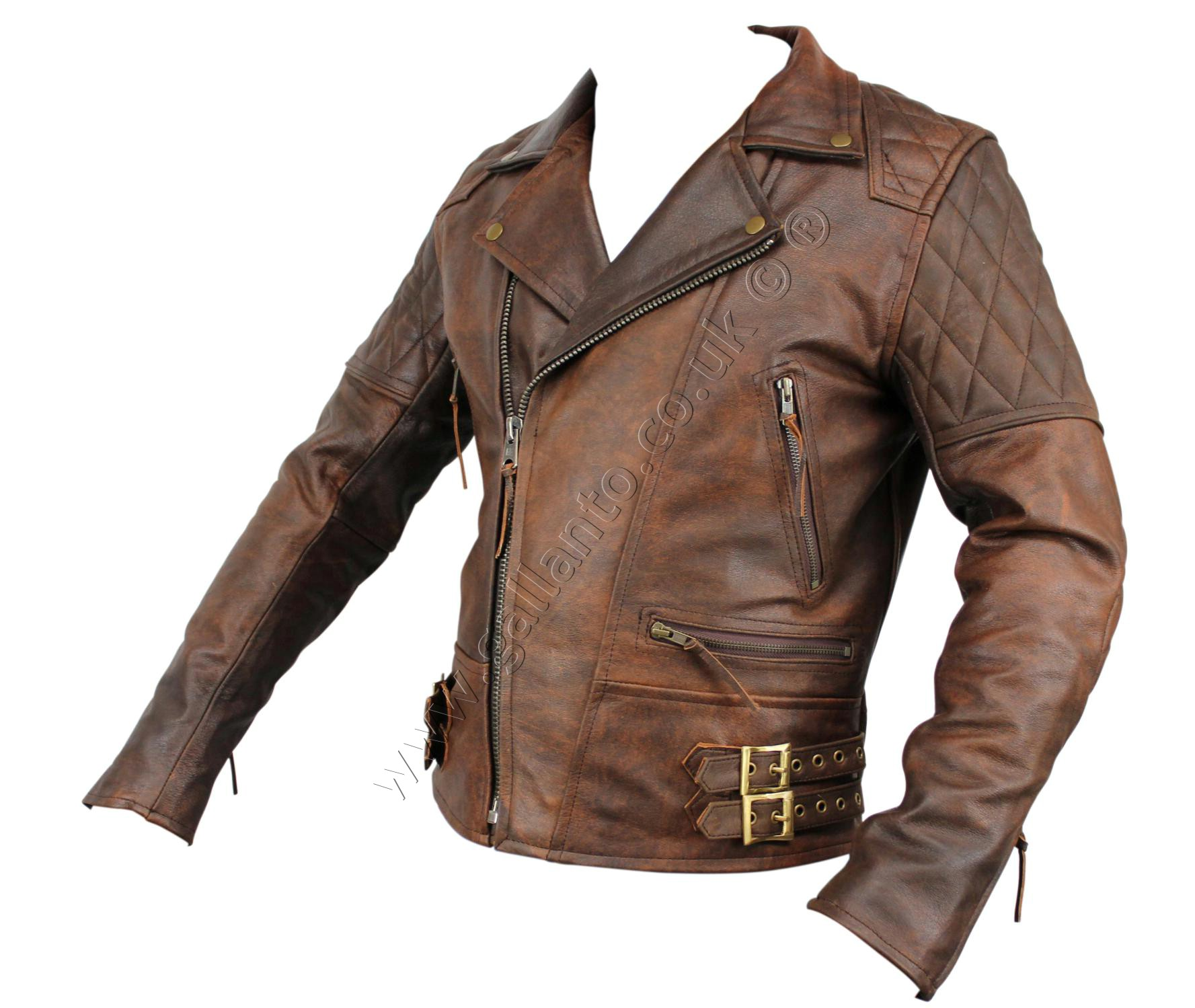 39d0d207408 106 Classic Diamond Brown Motorcycle Leather Jacket - Wholesaler of ...